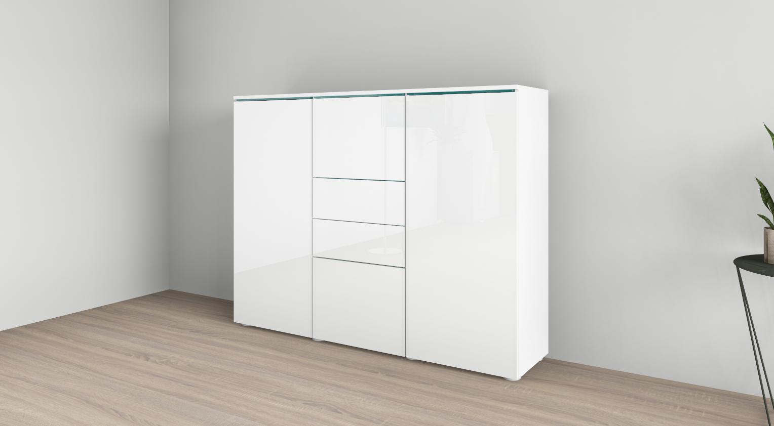kommode anrichte el paso sideboard schrank flur wohnzimmer wei hochglanz ebay. Black Bedroom Furniture Sets. Home Design Ideas